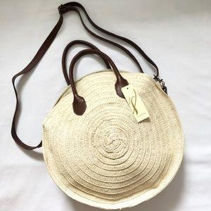 COLLECTION 18 Round Woven Straw Crossbody Boho Bag